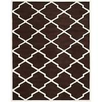 Safavieh Handmade Moroccan Chatham Dark Brown/ Ivory Wool Rug - 8' x 10'