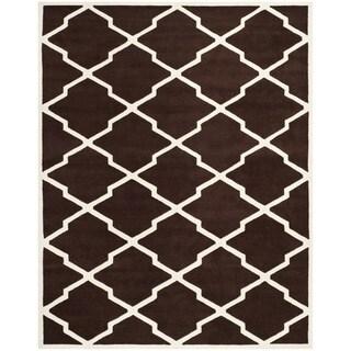 Safavieh Handmade Moroccan Chatham Dark Brown/ Ivory Wool Rug (8'9 x 12')