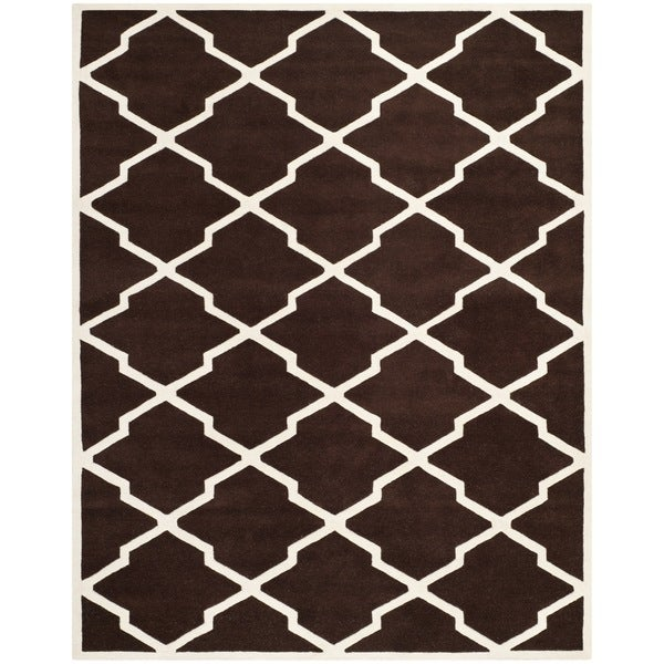 "Safavieh Handmade Moroccan Chatham Dark Brown/ Ivory Wool Rug - 8'9"" x 12'"