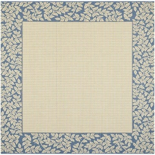 Safavieh Indoor/ Outdoor Courtyard Natural/ Blue Rug (6'7 Square)