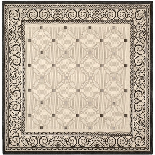 Indoor Outdoor Rugs Square: Shop Safavieh Bay Sand/ Black Indoor/ Outdoor Rug