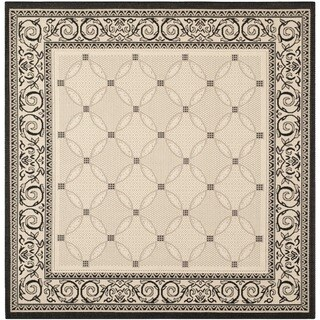 Safavieh Indoor/ Outdoor Courtyard Sand/ Black Area Rug (7'10 Square)