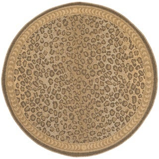 Safavieh Courtyard Natural/ Gold Leopard Print Indoor/ Outdoor Rug (5'3 Round)