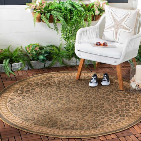 "Safavieh Courtyard Natural/ Gold Leopard Print Indoor/ Outdoor Rug - 7'10"" x 7'10"" Round"