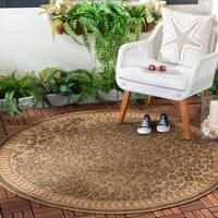 "Safavieh Courtyard Natural/ Gold Leopard Print Indoor/ Outdoor Rug - 7'10"" x 7'10"" Round"