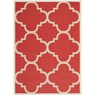 Safavieh Courtyard Quatrefoil Red Indoor/ Outdoor Rug (4' x 5'7)