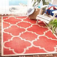 Safavieh Courtyard Quatrefoil Red Indoor/ Outdoor Rug - 5'3 x 7'7