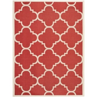 Safavieh Courtyard Quatrefoil Red Indoor/ Outdoor Rug (8' x 11')