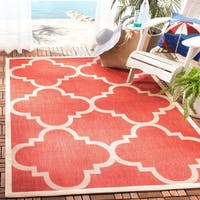 Safavieh Courtyard Quatrefoil Red Indoor/ Outdoor Rug - 8' x 11'