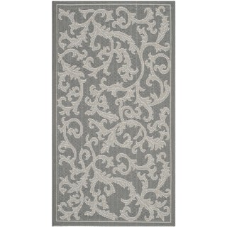 Safavieh Courtyard Scrolling Vines Anthracite/ Light Grey Indoor/ Outdoor Rug (2' x 3'7)