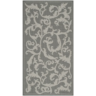 Safavieh Courtyard Scrolling Vines Anthracite/ Light Grey Indoor/ Outdoor Rug (2'7 x 5')