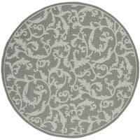 Safavieh Courtyard Scrolling Vines Anthracite/ Light Grey Indoor/ Outdoor Rug - 5'3 round