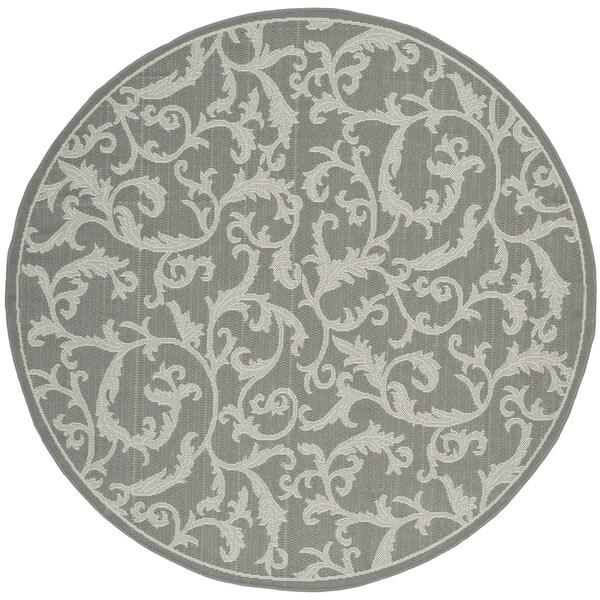 Safavieh Indoor/ Outdoor Courtyard Anthracite/ Light Grey Rug (5'3 Round)
