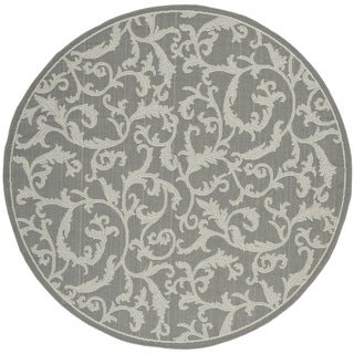Safavieh Courtyard Scrolling Vines Anthracite/ Light Grey Indoor/ Outdoor Rug (6'7 Round)