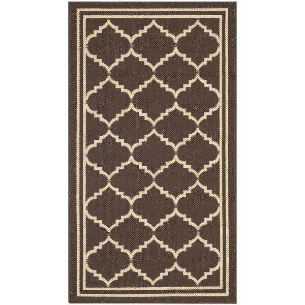 Safavieh Courtyard Transitional Chocolate/ Cream Indoor/ Outdoor Rug - 2' x 3'7'