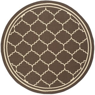 Safavieh Courtyard Transitional Chocolate/ Cream Indoor/ Outdoor Rug (6'7 Round)