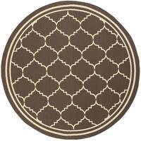 """Safavieh Courtyard Transitional Chocolate/ Cream Indoor/ Outdoor Rug - 6'7"""" x 6'7"""" round"""
