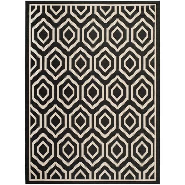 Safavieh Courtyard Honeycomb Black/ Beige Indoor/ Outdoor Rug (8' x 11')