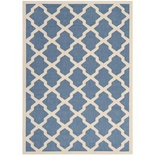 Safavieh Indoor/ Outdoor Courtyard Trellis-pattern Blue/ Beige Rug (4' x 5'7'')