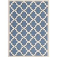 Safavieh Courtyard Moroccan Trellis Blue/ Beige Indoor/ Outdoor Rug - 4' x 5'7