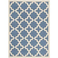 Safavieh Courtyard All-Weather Blue/ Beige Indoor/ Outdoor Rug - 5'3 x 7'7
