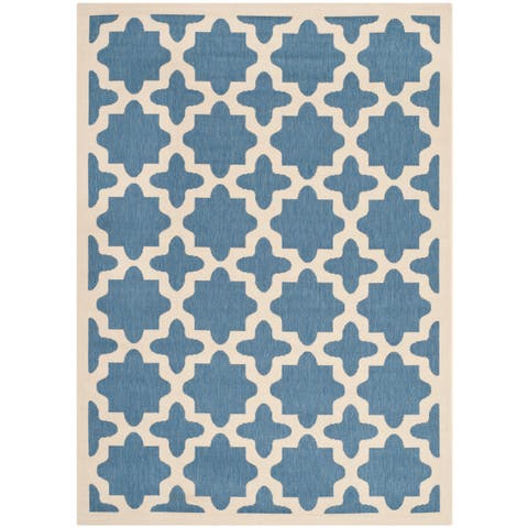 "Safavieh Courtyard All-Weather Blue/ Beige Indoor/ Outdoor Rug - 6'7"" x 9'6"""