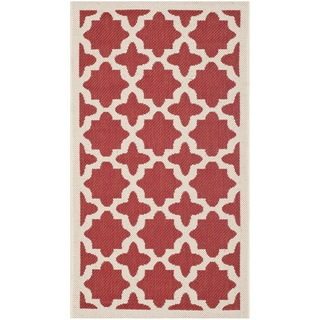 Safavieh Indoor/ Outdoor Courtyard Red/ Bone Polypropylene Rug (2' x 3'7)