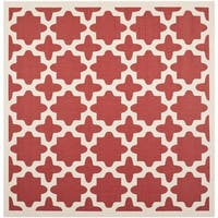 Safavieh Courtyard All-Weather Red/ Bone Indoor/ Outdoor Rug (7'10 Square)