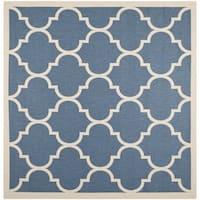 Safavieh Courtyard Moroccan Pattern Blue/ Beige Indoor/ Outdoor Rug - 7'10 Square
