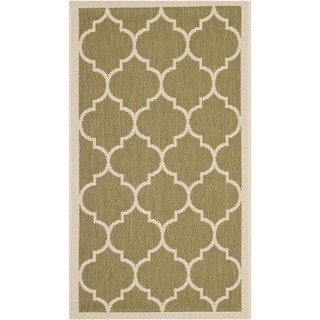 Safavieh Courtyard Moroccan Pattern Green/ Beige Indoor/ Outdoor Rug (2'7 x 5')