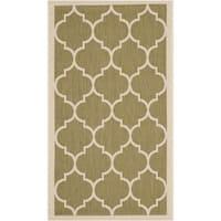 """Safavieh Courtyard Moroccan Pattern Green/ Beige Indoor/ Outdoor Rug - 2'7"""" x 5'"""