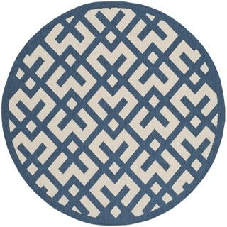 Safavieh Indoor/ Outdoor Courtyard Navy/ Beige Polypropylene Rug (5'3 Round)