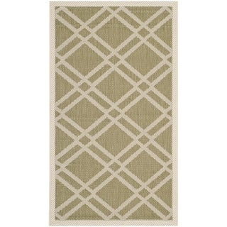 Safavieh Contemporary Indoor/ Outdoor Courtyard Green/ Beige Rug (2' x 3'7)
