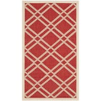 Safavieh Indoor/ Outdoor Courtyard Red/ Bone Accent Rug - 2' x 3'7