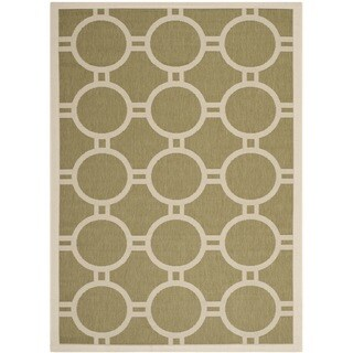 "Safavieh Indoor/ Outdoor Courtyard Circles-pattern Green/ Beige Rug (4' x 5'7"")"