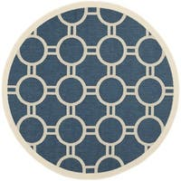 Safavieh Power-loomed Indoor/ Outdoor Courtyard Navy/ Beige Rug - 5'3 round