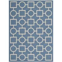 """Safavieh Indoor/ Outdoor Courtyard Squares-and-circles Blue/ Beige Rug - 4' x 5'7"""""""