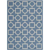 Safavieh Indoor/ Outdoor Courtyard Squares-and-circles Blue/ Beige Rug - 5'3 x 7'7