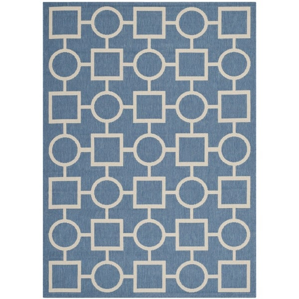 """Safavieh Indoor/ Outdoor Courtyard Squares-and-circles Blue/ Beige Rug (5'3"""" x 7'7"""")"""