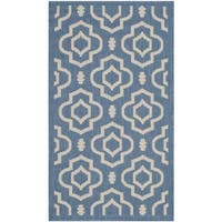 Safavieh Indoor/ Outdoor Courtyard Blue/ Beige Accent Rug - 2' x 3'7