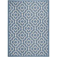 Safavieh Indoor/ Outdoor Courtyard Blue/ Beige Area Rug - 5'3 x 7'7