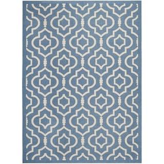 Safavieh Indoor/ Outdoor Courtyard Blue/ Beige Area Rug (8' x 11')