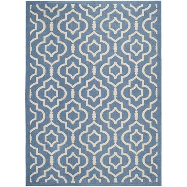 Safavieh Indoor/ Outdoor Courtyard Blue/ Beige Area Rug - 8' x 11'