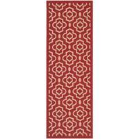 Safavieh Indoor/ Outdoor Courtyard Collection Red/ Bone Rug - 2'3 x 6'7
