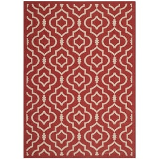 Safavieh Indoor/ Outdoor Courtyard Red/ Bone Area Rug (4' x 5'7)
