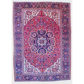 Herat Oriental Persian Hand-knotted Heriz Red/ Navy Wool Rug (9 x 12'5)
