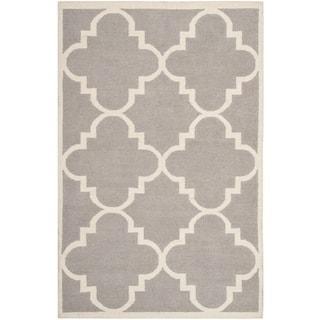 Safavieh Hand-woven Moroccan Reversible Dhurrie Dark Grey Wool Rug (9' x 12')
