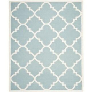 Safavieh Handwoven Moroccan Reversible Dhurrie Light Blue Wool Area Rug (8' x 10')