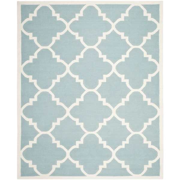Safavieh Handwoven Moroccan Reversible Dhurrie Light Blue Wool Area Rug - 8' x 10'