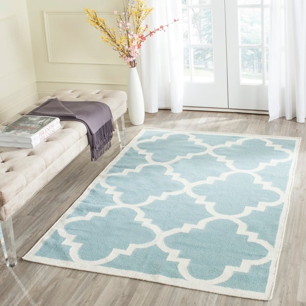 Safavieh Handwoven Moroccan Reversible Dhurrie Transitional Light Blue Wool Rug - 5' x 8'
